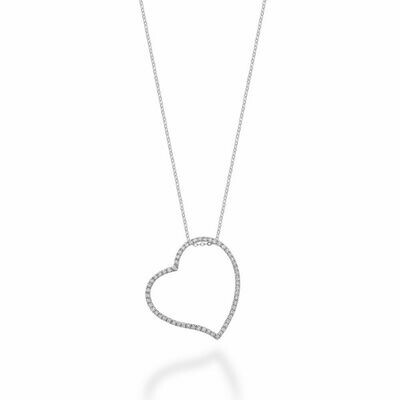 Asymmetrical Diamond Heart Pendant 0.33CTDI White Gold