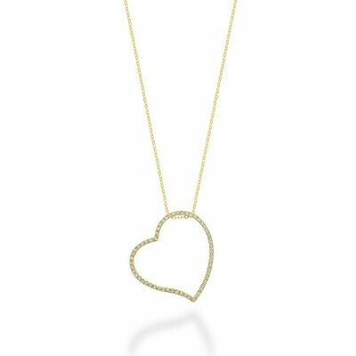 Asymmetrical Diamond Heart Pendant 0.17CTDI Yellow Gold