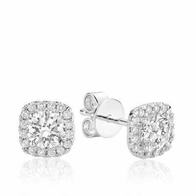 Cushion Mount Diamond Stud Earrings 0.50CTDI White Gold