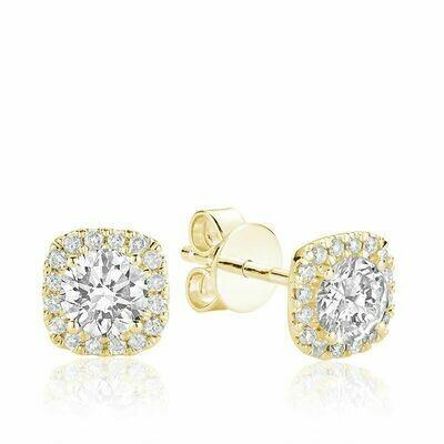 Cushion Mount Diamond Stud Earrings 0.75CTDI Yellow Gold