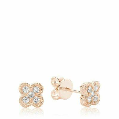 Clover Milgrain Diamond Stud Earrings Rose Gold