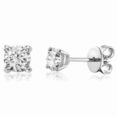 Solitaire Diamond Stud Earrings 0.20CTDI White Gold