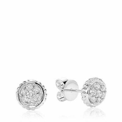 Round Milgrain Diamond Stud Earrings White Gold