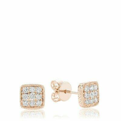 Square Milgrain Diamond Stud Earrings Rose Gold