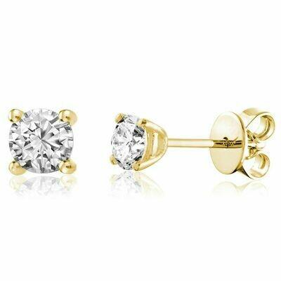 Solitaire Diamond Stud Earrings 0.60CTDI Yellow Gold
