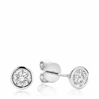 Bezel & Diamond Stud Earrings 0.10CTDI White Gold