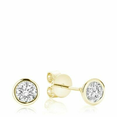 Bezel & Diamond Stud Earrings 0.75CTDI Yellow Gold