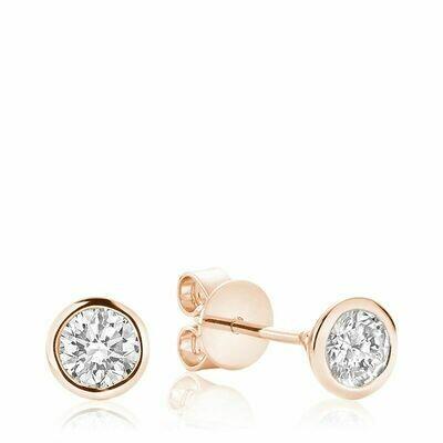 Bezel & Diamond Stud Earrings 0.35CTDI Rose Gold