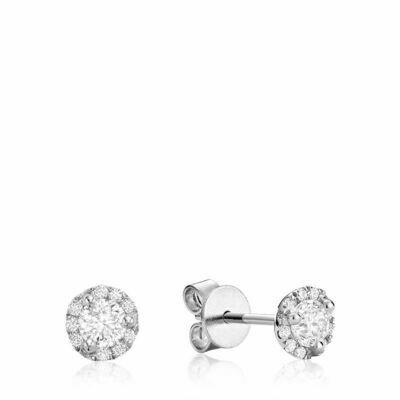 Martini Cup Diamond Halo Stud Earrings 1.00CTDI White Gold