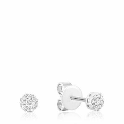 Cluster Diamond Stud Earrings 0.10CTDI White Gold