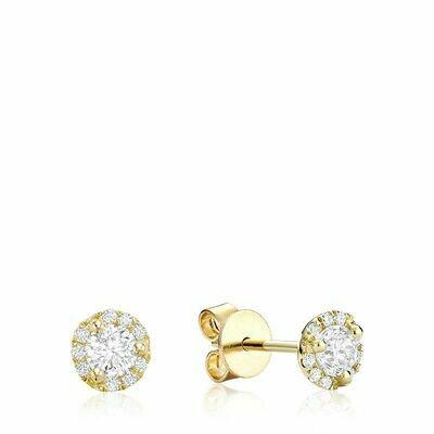Martini Cup Diamond Halo Stud Earrings 0.35CTDI Yellow Gold