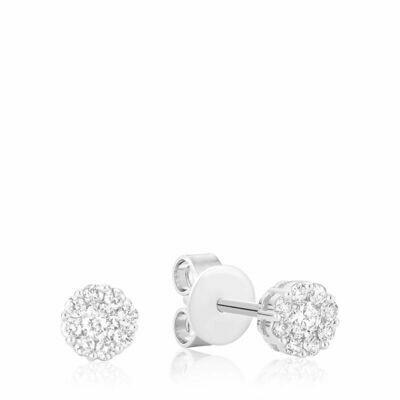 Cluster Diamond Stud Earrings 1.00CTDI White Gold