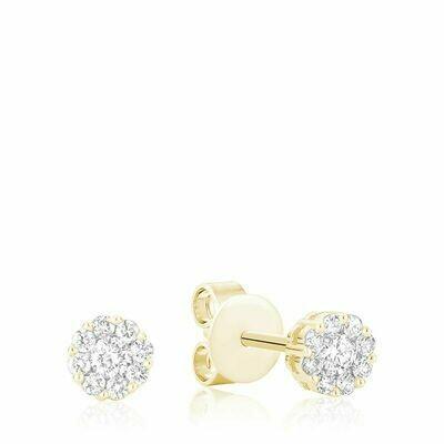 Cluster Diamond Stud Earrings 1.25CTDI Yellow Gold