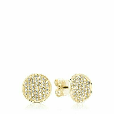 Curved Disk Diamond Stud Earrings Yellow Gold