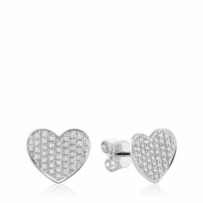 Curved Heart-Shaped Diamond Stud Earrings White Gold