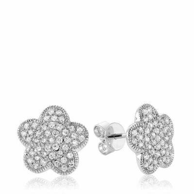 Flower Leaf Diamond Stud Earrings White Gold