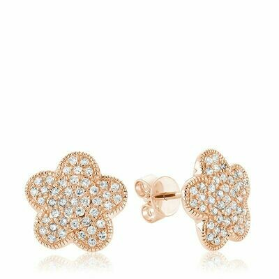 Flower Leaf Diamond Stud Earrings Rose Gold