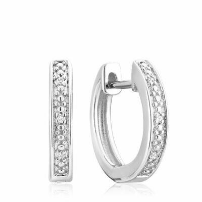 Diamond Huggie Hoop Earrings 0.04CTDI White Gold