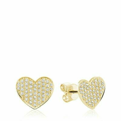 Curved Heart-Shaped Diamond Stud Earrings Yellow Gold