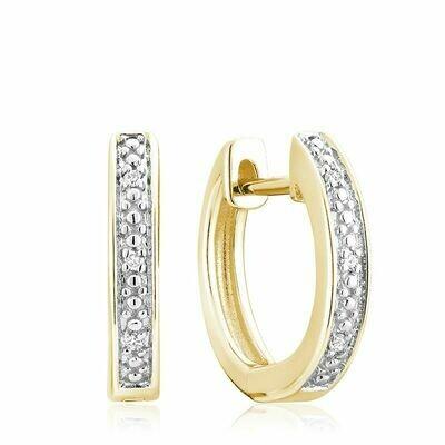 Diamond Huggie Hoop Earrings 0.03CTDI Yellow Gold