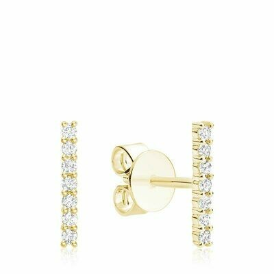 Diamond Bar Stud Earrings Yellow Gold