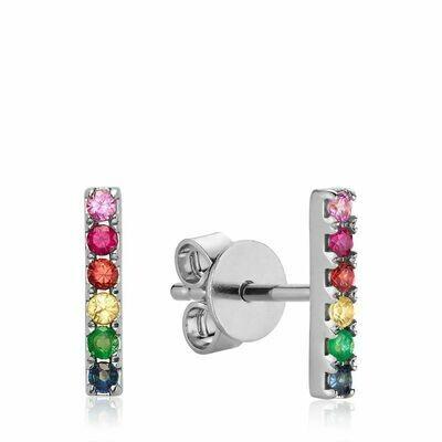 10K Gold Rainbow Bar Stud Earrings White Gold