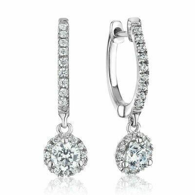 Dangled Martini Mount Diamond Earrings 0.75CTDI White Gold