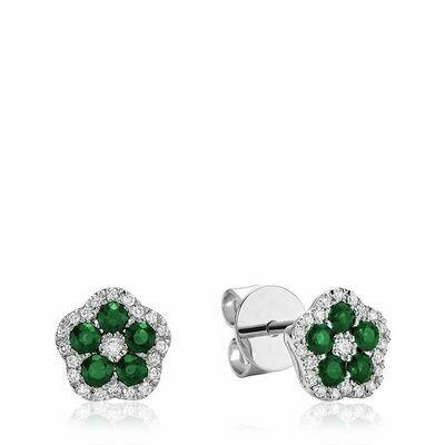 Hollow Flower Emerald & Diamond Stud Earrings