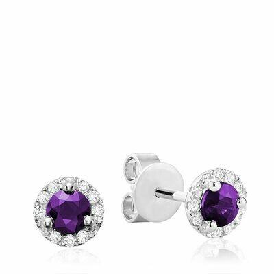 Amethyst & Diamond Halo Stud Earrings White Gold