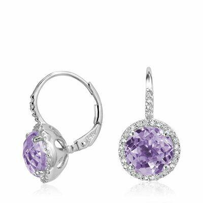 Amethyst & Diamond Halo Dangle Earrings White Gold