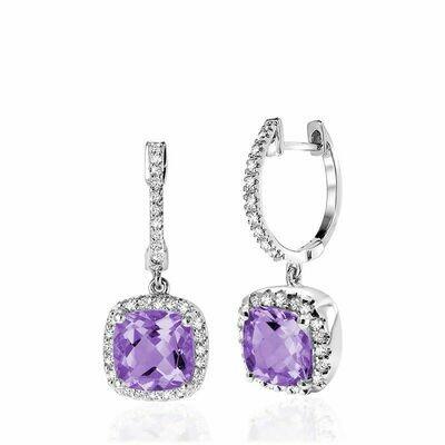 Cushion Cut Amethyst & Diamond Halo Earrings White Gold