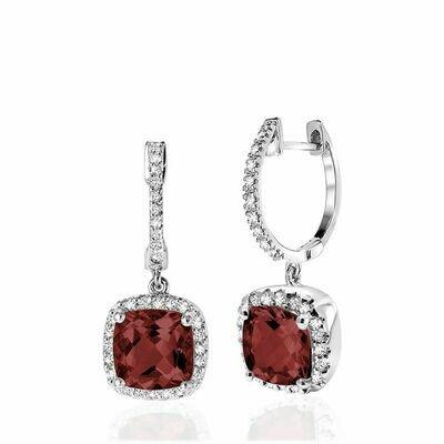 Cushion Cut Garnet & Diamond Halo Earrings White Gold