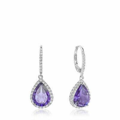 Teardrop Amethyst & Diamond Dangle Earrings White Gold