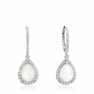 Tear Drop Mother of Pearl & Diamond Dangle Earrings White Gold