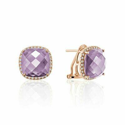 Cushion Cut Pink Amethyst & Diamond Halo Earrings Rose Gold