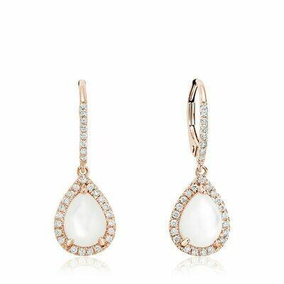 Tear Drop Mother of Pearl & Diamond Dangle Earrings Rose Gold
