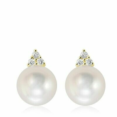 Cultured Freshwater Pearl & Diamond Stud Earrings Yellow Gold
