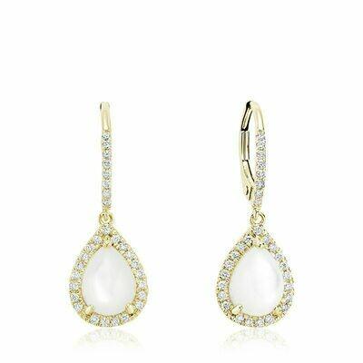 Tear Drop Mother of Pearl & Diamond Dangle Earrings Yellow Gold