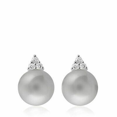 Grey Pearl & Diamond Stud Earrings White Gold