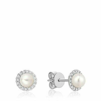 Freshwater Pearl & Diamond Earrings 5MM Pearl White Gold