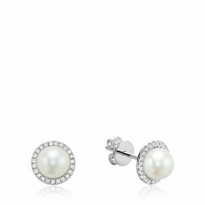 Freshwater Pearl & Diamond Earrings 6MM Pearl White Gold