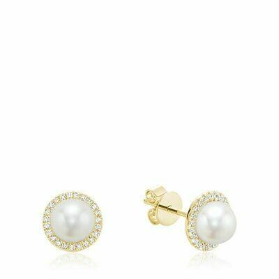 Freshwater Pearl & Diamond Earrings 6MM Pearl Yellow Gold
