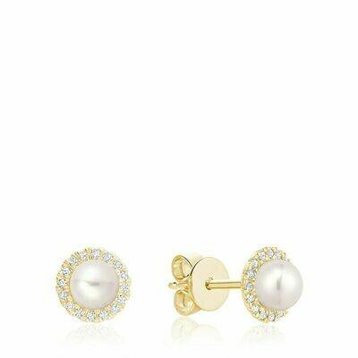Freshwater Pearl & Diamond Earrings 5MM Pearl Yellow Gold