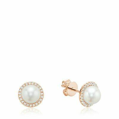 Freshwater Pearl & Diamond Earrings 6MM Pearl Rose Gold