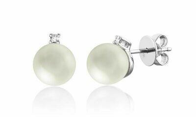Cultured Freshwater Pearl & Diamond Stud Earrings White Gold