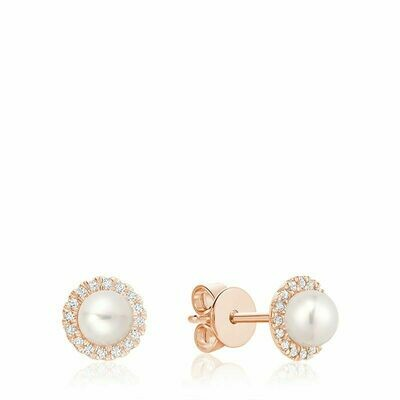 Freshwater Pearl & Diamond Earrings 5MM Pearl Rose Gold