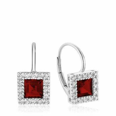 Princess Cut Garnet & Diamond Halo Earrings White Gold