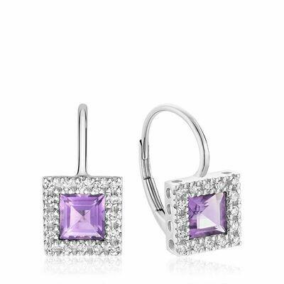 Princess Cut Amethyst & Diamond Halo Earrings White Gold