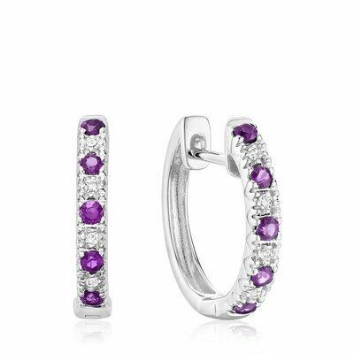 Amethyst & Diamond Huggie Earrings White Gold