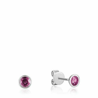 Bezel Set Pink Topaz Stud Earrings White Gold